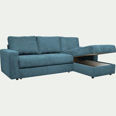 Canapé d'angle réversible 4 places convertible - bleu figuerolles-HONORE
