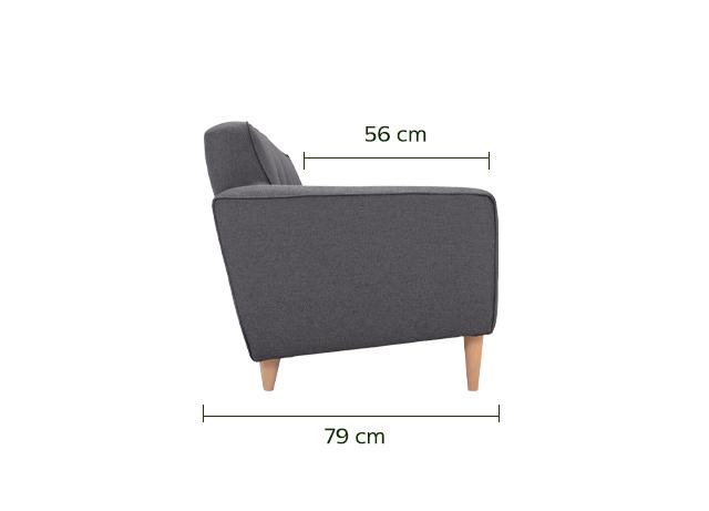 Canapé 2 places fixe en tissu gris restanque-ORRES