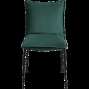 Chaise rembourrée en velours vert cèdre-LISON