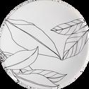 Assiette plate en grès blanc capelan décoré D26cm-LAURIER