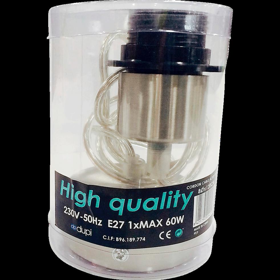 Monture électrique E27 transparente et chromée L120cm-PENDEL