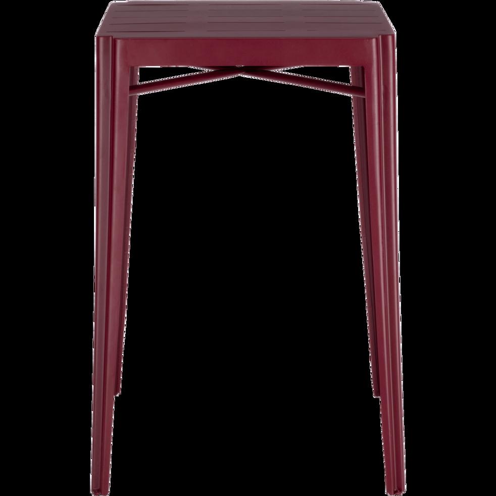 TRIVIA - Table haute carrée en métal rouge sumac
