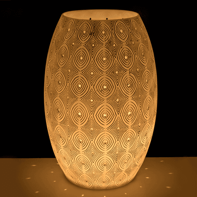 Lampe à poser en résine blanche à motifs H42cm-POWHOW