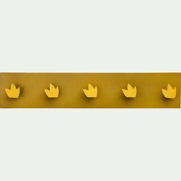 Patère en bois avec 5 points d'accroche - jaune argan-Panjadou
