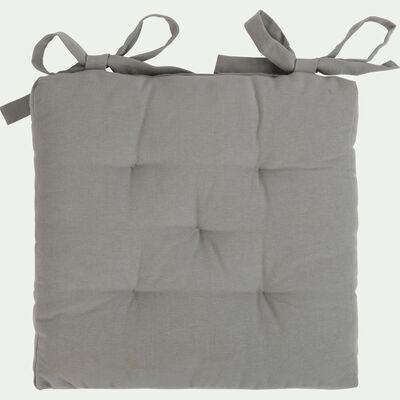 Galette de chaise carrée en coton - gris restanque 40x40cm-CALANQUES