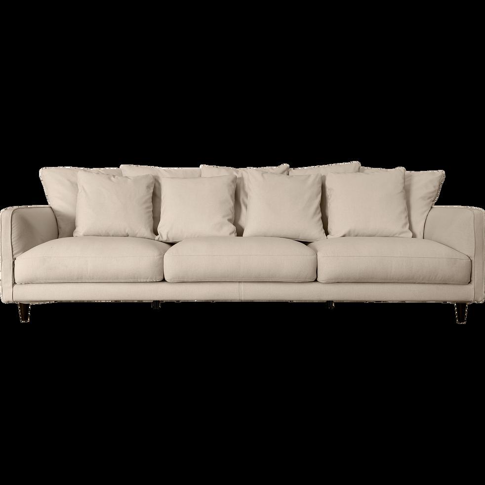 Canapé 6 places fixe en tissu beige roucas - LENITA ...