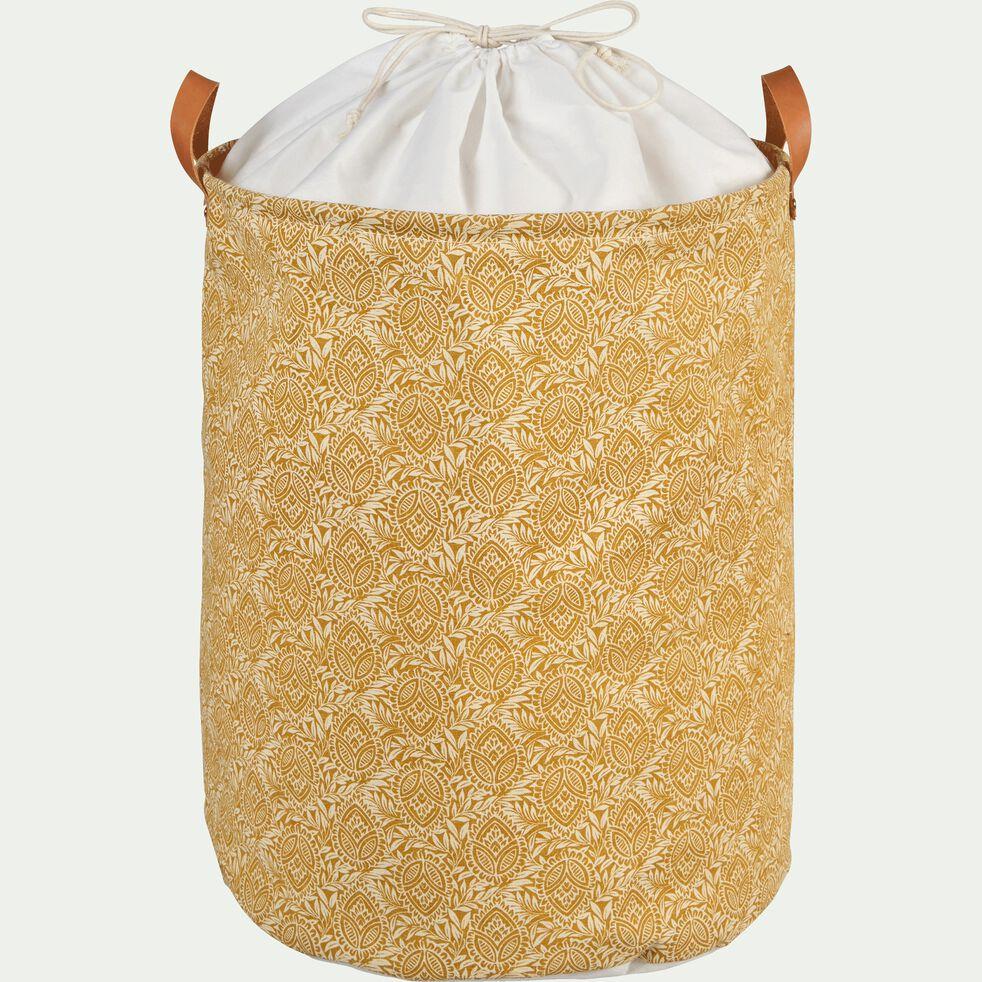 Panier à linge à motif amande en polycoton - beige H40xD50cm-MAYAN