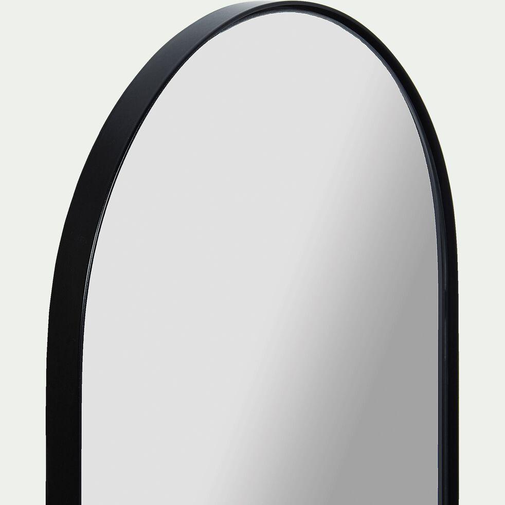 Miroir ovale en métal reflets bleutés - noir 30x120cm-ARSENE
