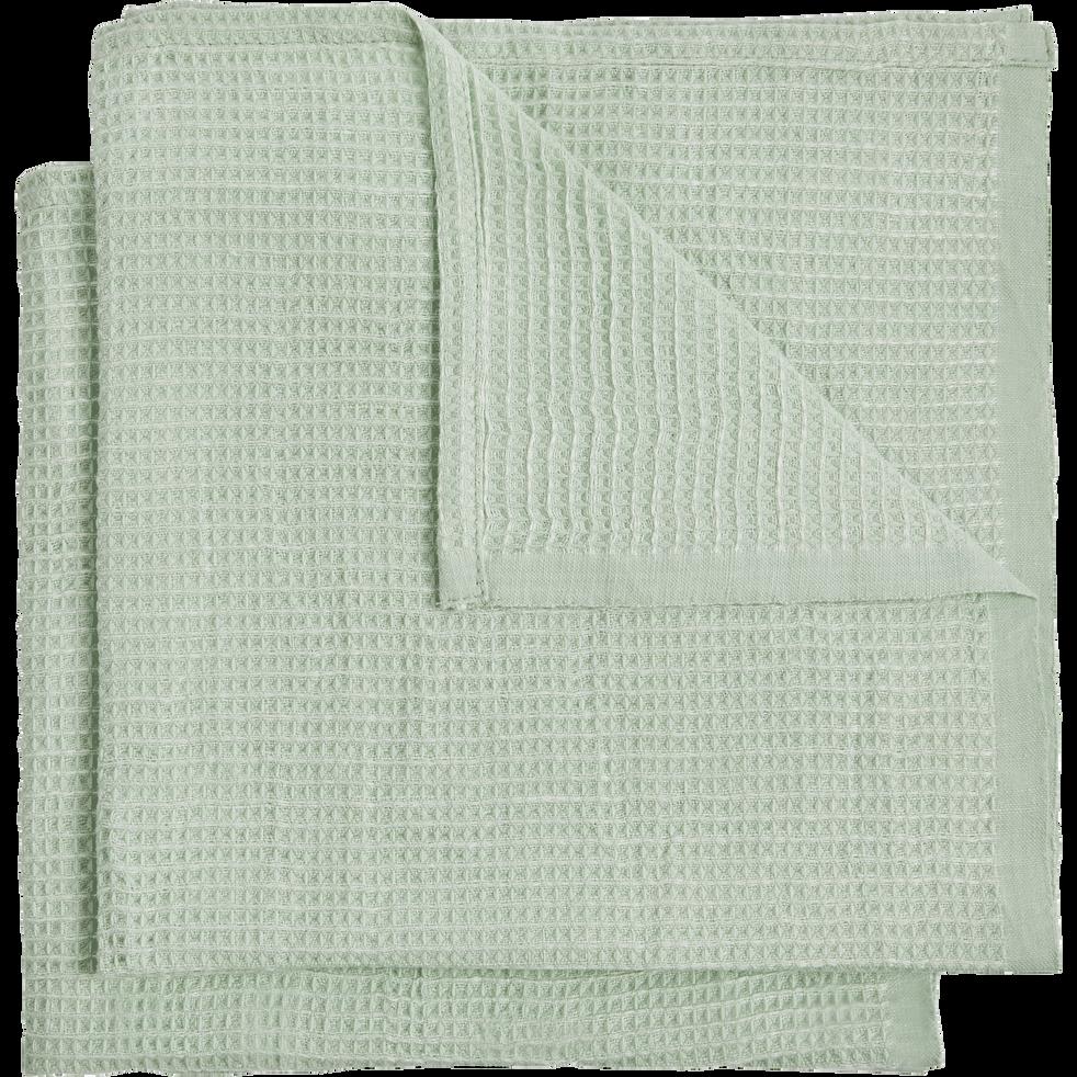 Serviettes en lin et coton vert aqua 45x45cm-CAPPELLA