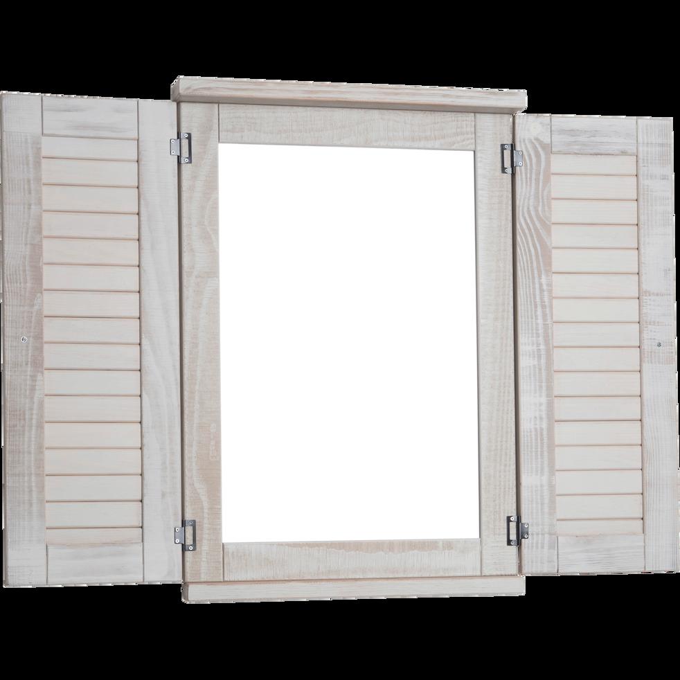 Miroir rectangulaire fenêtre en pin brossé Blanc-JALOUSIE