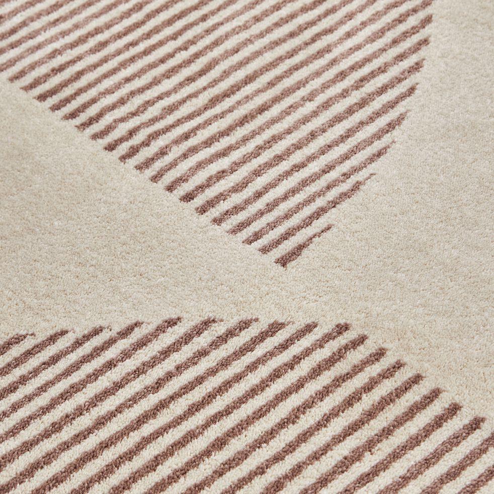Tapis à motif géométrique - beige et rose 160x230cm-flore