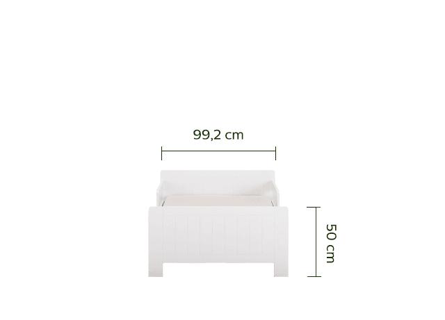 Lit 1 place évolutif blanc en pin 3 positions pour enfant-POLLUX