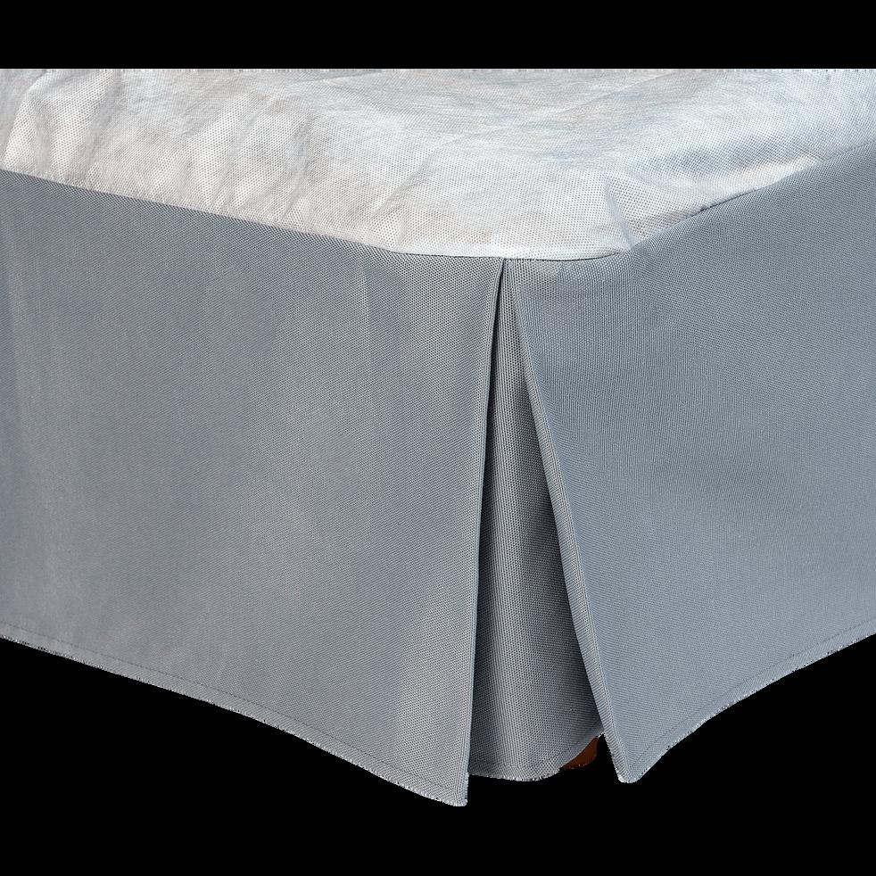 Cache-sommier gris 32 cm - 160x200 cm-OPALINE