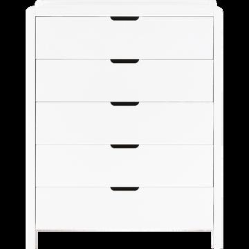 Commode 5 tiroirs effet bois - blanc-JAUME