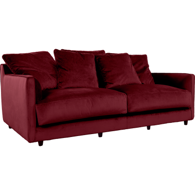 Canapé 3 places fixe en velours rouge sumac-LENITA