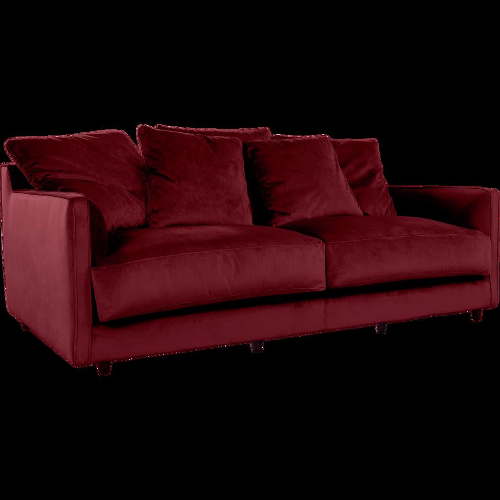 canap 3 places fixe en velours rouge sumac lenita canap s en tissu alinea. Black Bedroom Furniture Sets. Home Design Ideas