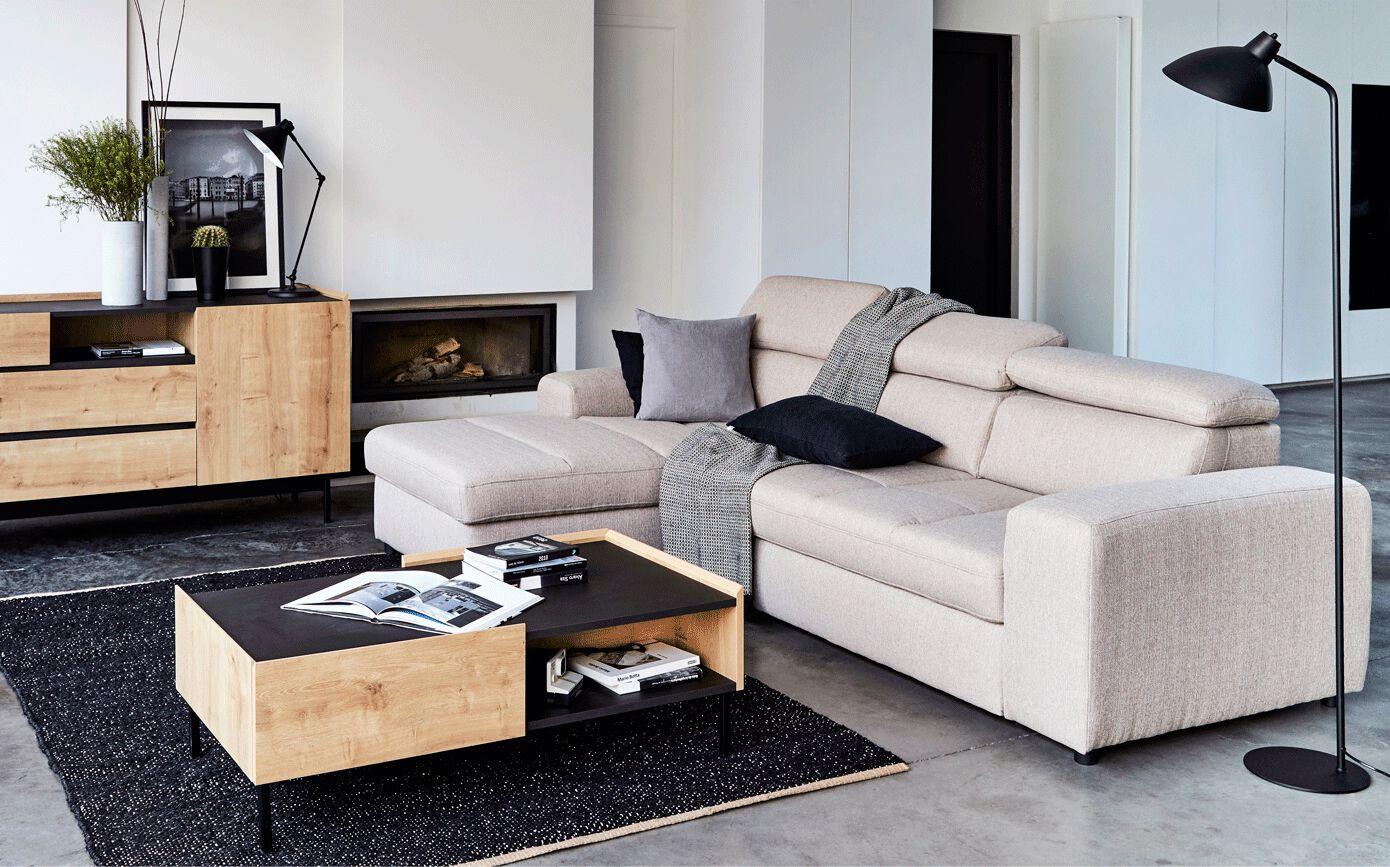 Canapé d'angle gauche convertible en tissu - grège-TONIN