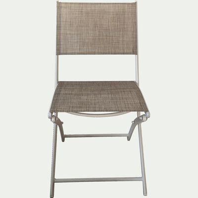 Chaise de jardin pliante gris clair en polyester-LEMON