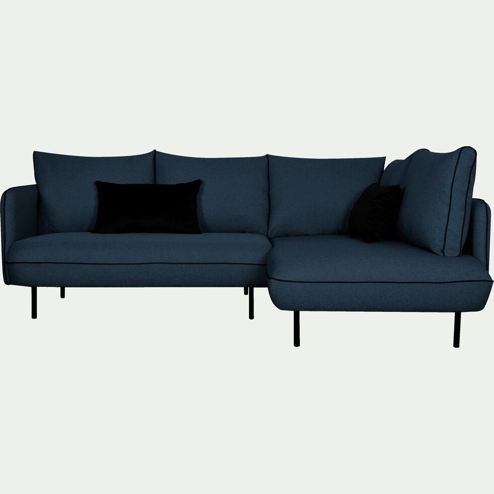 Canapé d'angle fixe droit en tissu - bleu figuerolles-SAOU