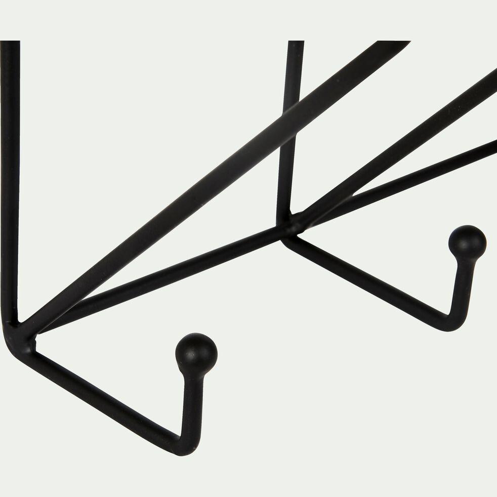 Étagère en verre à 5 crochets - noir L51cm-ALARI