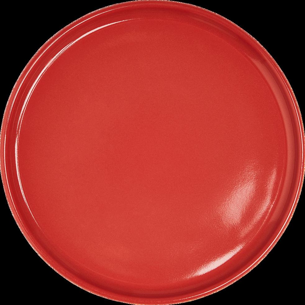 Assiette à dessert en faïence rouge arbouse d21cm-VADIM