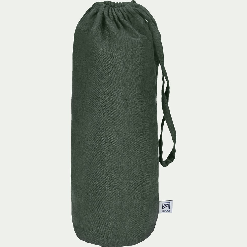 Drap housse en lin - vert cèdre 180x200cm B28cm-VENCE