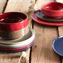 Assiette plate en faïence en rouge sumac D27cm-VADIM