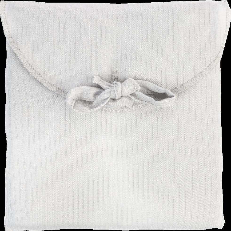 Lot de 2 taies d'oreiller en satin Gris borie rayé - 50x70 cm-SANTIS