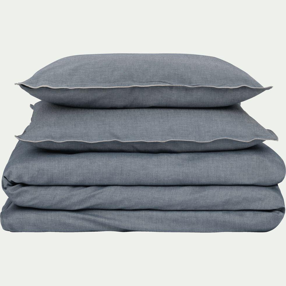 Drap housse en coton chambray - gris anthracite 160x200cm B27cm-FRIOUL