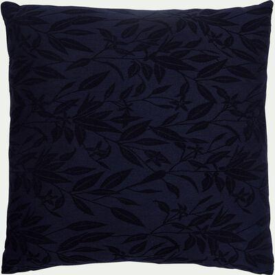Coussin motif Fleur d'oranger ton sur ton en lin et coton - bleu calabrun 45x45cm-ORANGER