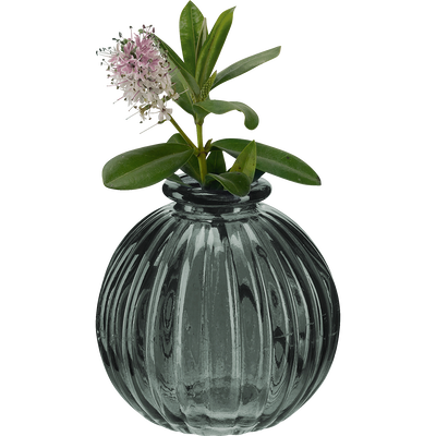 Vase rond en verre gris H8 cm-Doko