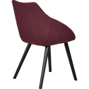 Chaise en tissu rouge sumac pieds noirs avec accoudoirs-NOELIE