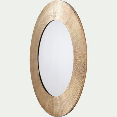 Miroir rond en aluminium côtelé - doré D88cm-KOTAL