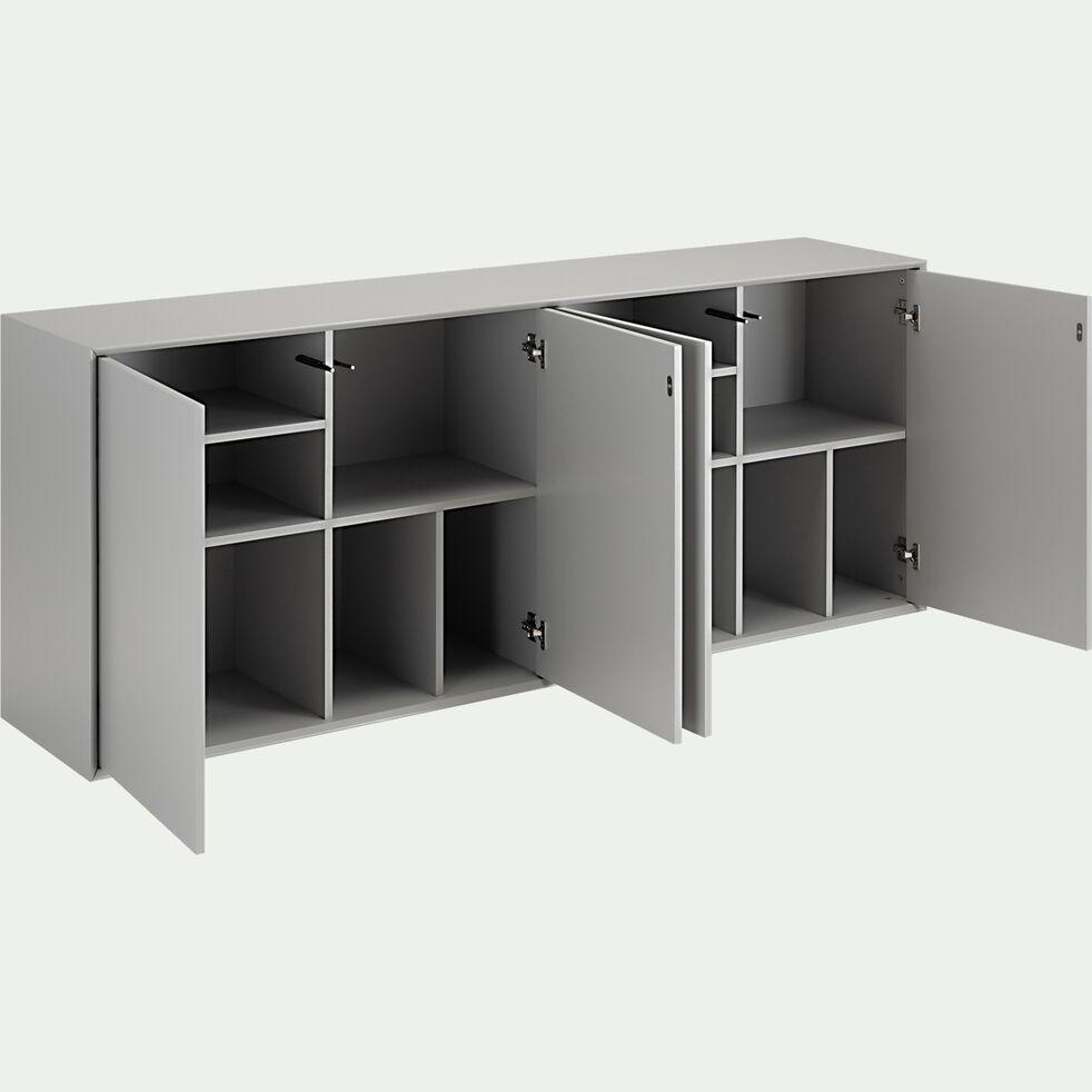 Buffet en bois 4 portes - L180xH70xl38cm gris-FALCO