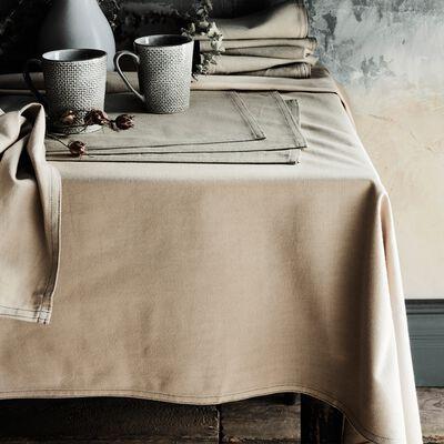Nappe en coton vert olivier 145x250cm-VENASQUE