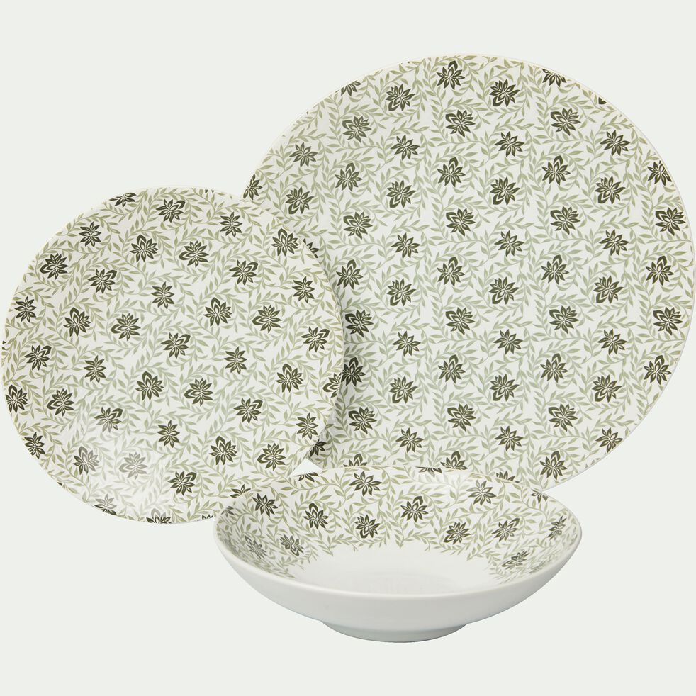 Assiette à dessert en grès décoré vert olivier D21cm-JASMIN