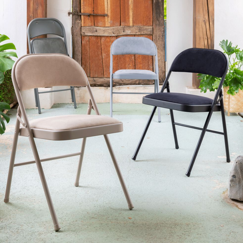 Chaise pliante en métal et tissu - noir calabrun-CASTA