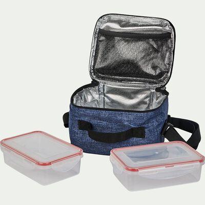 Glacière de repas bleue - 2 boîtes de conservation 0,6L-PIOL