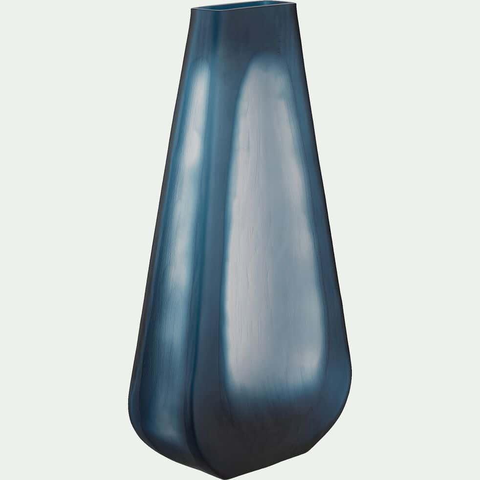 Vase en verre poli - bleu H39cm-BRANKO