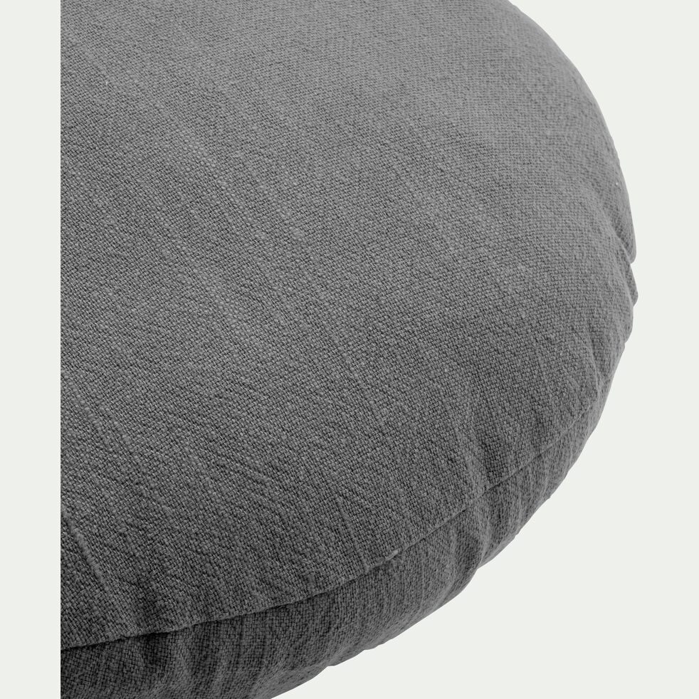 Coussin rond en ramie gris restanque D40cm-RAMY