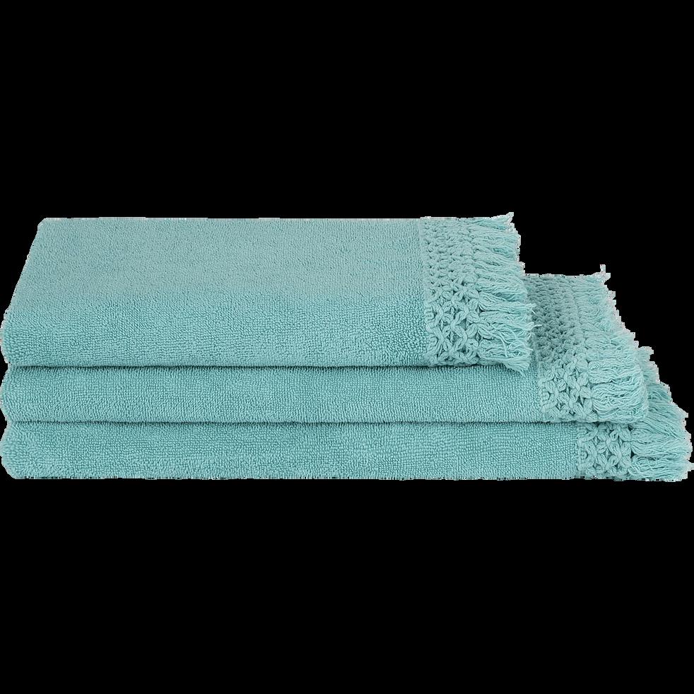 Linge de toilette frangé bleu turquoise-LYNA