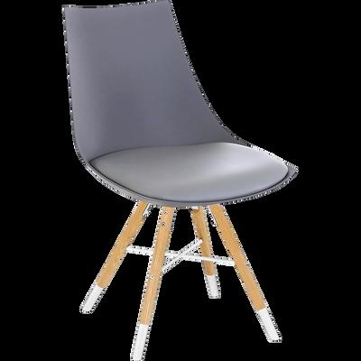 Chaise grise avec piètement bois et blanc