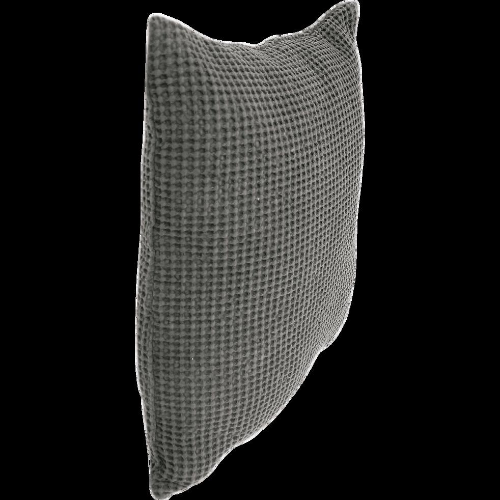 Coussin en coton gris effet nid d'abeille 45x45cm-HONEY