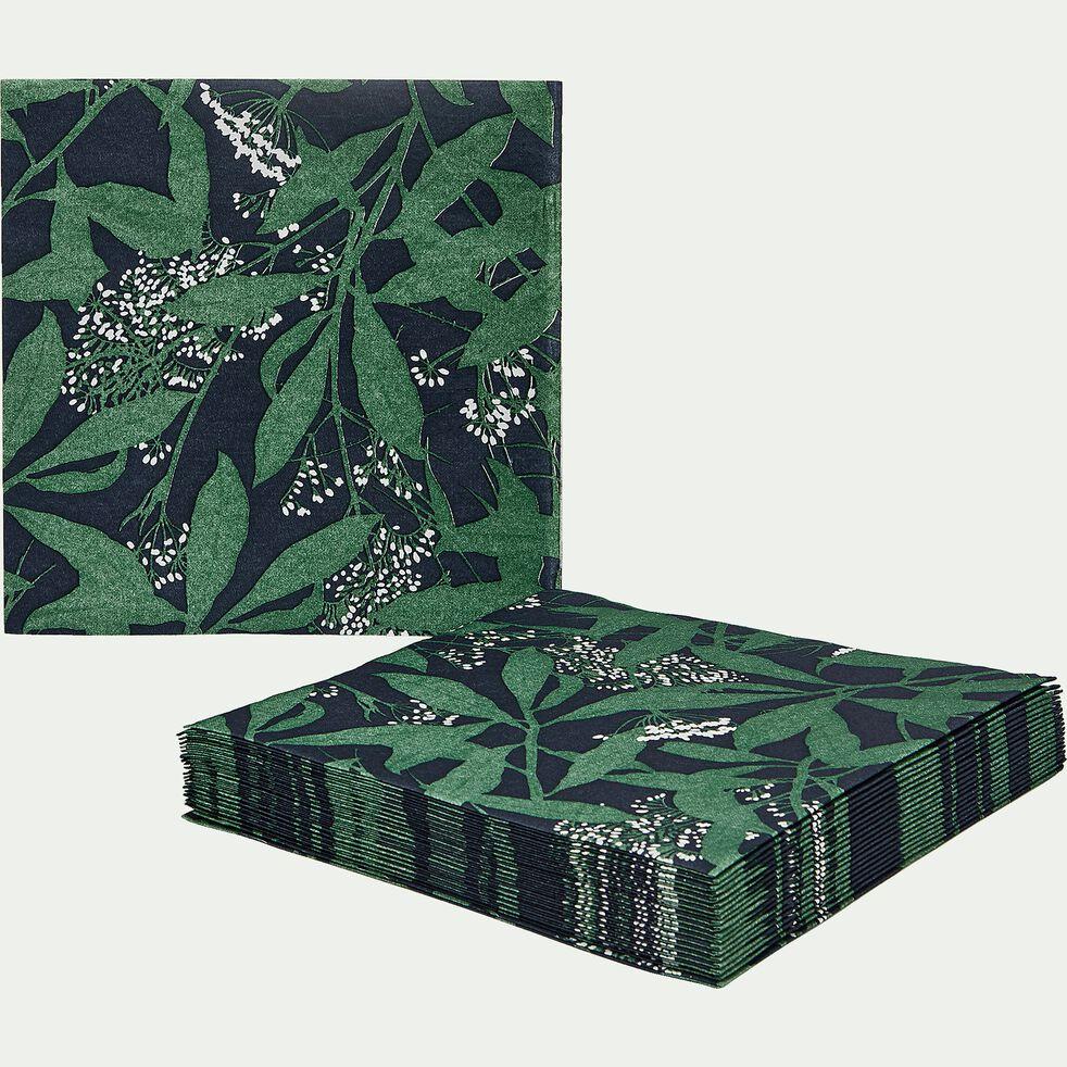 Lot de 20 serviettes en papier noir et vert à motifs 40x40cm-OMBRAGE