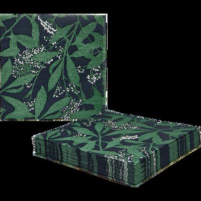 Lot de 20 serviettes en intissé noir et vert à motifs 40x40cm-OMBRAGE