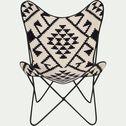 Housse de fauteuil butterfly en jute noir et blanc - structure non incluse-BUTTERFLY