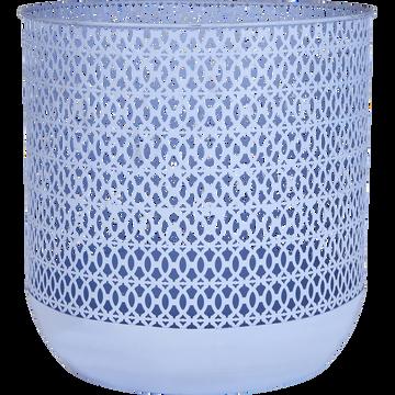 Panier rond en métal bleu (h31.5xD30.5cm)-FLEXION