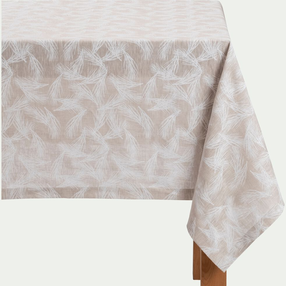Nappe en lin et coton coloris naturel motifs pin 170X250cm-ST REMY