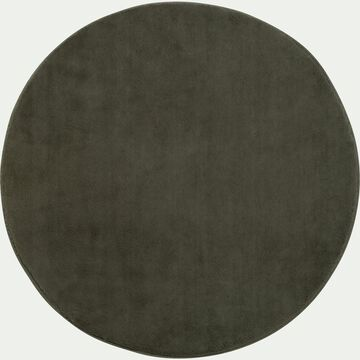 Tapis rond imitation fourrure - vert cèdre D150cm-ROBIN