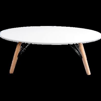 Table basse ovale coloris blanc et hêtre-MIK